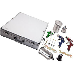 3 Hvlp Air Spray Gun Kit Auto Paint Car Primer Basecoat Clearcoat W Case