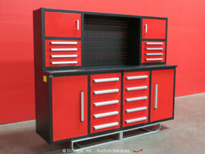 Steelman 18 drawer 7ft Steel Work Bench Tool Cabinet Shop Box Bidadoo new