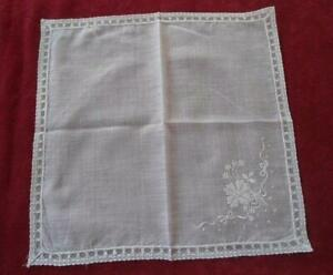 Vintage Linen Hanky Flower Bouquet Embroidery Net Lace White Needle Run