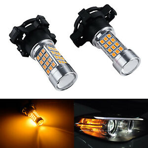 Amber Py24w 45w Led Bulbs Front Turn Signal Light For Audi Bmw Benz Range Rover