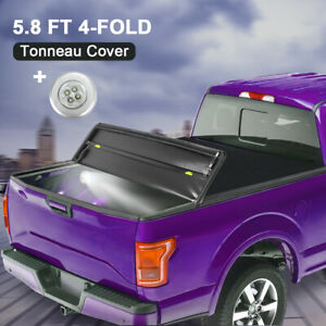 Soft Truck Bed Tonneau Cover 5 8ft 4 Fold For 14 19 Chevy Silverado Gmc Sierra