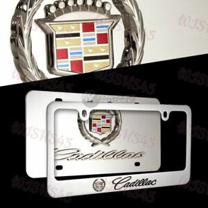 3d Cadillac Logo Stainless Steel License Plate Frame 2pcs Front Back Authentic