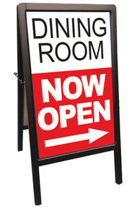 Dining Room Now Open Sidewalk A frame Banner Sign Wb 172875