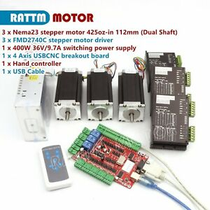 3 Axis Usb Cnc Controller Kit Nema23 425oz in 280ncm Dual Shaft Stepper Motor