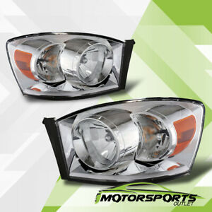 2006 2007 2008 Dodge Ram 1500 2500 3500 Chrome Factory Style Headlights Pair