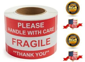 Fragile Please Handle With Care thank You 1 Roll 500 Labels 2 X 3 New