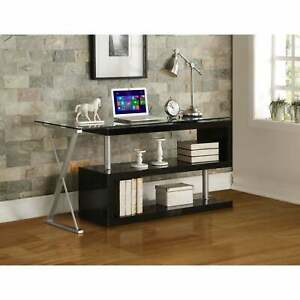 Writing Desk With Swivel Clear Glass White Black N a