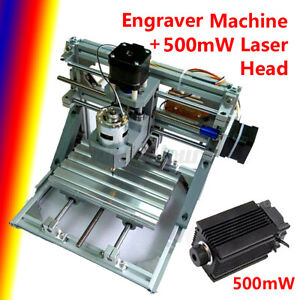 Cnc Mini Machine Router 3 Axis Engraving Pcb Wood Diy Mill 500mw Laser Head Usa