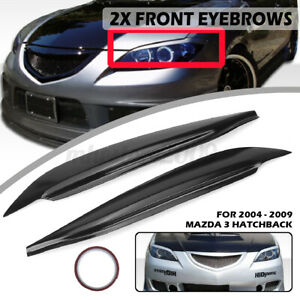 Unpainted Black Eyelid Eyebrow Headlight Cover Lid Brow For Mazda 3 Hatchback 5d