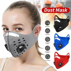 1 2pcs Activated Carbon Face Mask Pm 2 5 With Filter Reusable Breathing Valve
