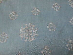 Vintage French Medallion Metis Linen Cotton Ticking Damask Fabric Nordic Blue