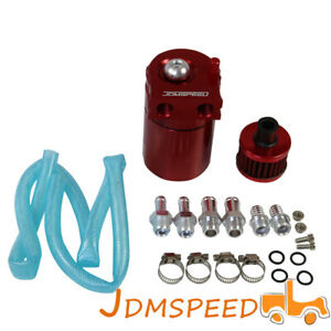 Red Oil Catch Reservoir Breather Can Tank W Filter Kit Cylinder Aluminum Engine