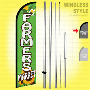 Farmers Market Windless Swooper Flag Kit 15 Feather Banner Sign Gf h