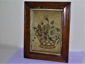 19th Century Painting On Cloth Theorem Basket Urn Of Flowers Early Framing