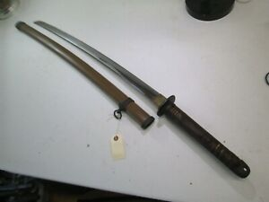 Late Wwii Japanese Officers Samurai Sword With Scabbard Signed And Dated P347