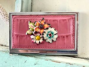 Brighton Business Card Holder Ladies Accessories Metal And Leather With Flower