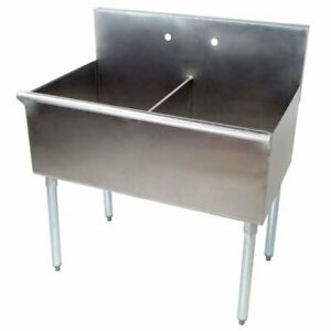 18 X 21 X 14 Stainless Steel Two Sink 36 2 Compartment Commercial Utility Prep