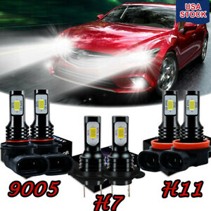6x Bulbs For Mazda 3 2004 2005 2006 9005 H7 Headlight H11 Fog Light Led Combo