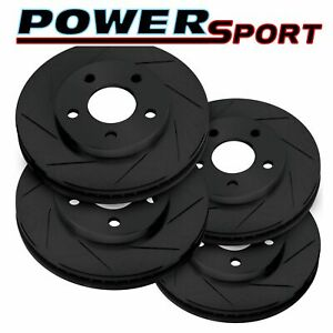 Fit 2007 2011 Ford Mustang Front Rear Powersport Black Slotted Brake Rotors