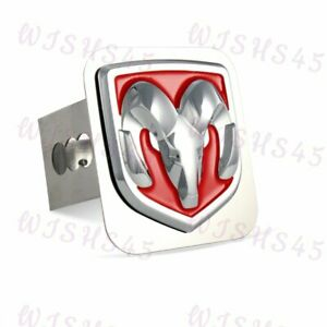 Stainless Steel Hitch Cover Cap For 2 Trailer Receiver For Dodge Ram Logo Red