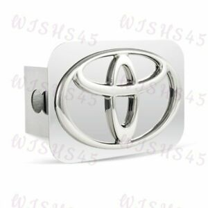 Stainless Steel Chrome Hitch Cover Plug For Toyota Logo 2 Trailer Tow Receiver
