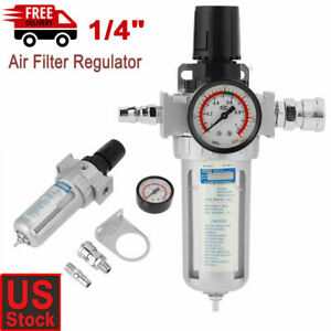 New 1 4 Air Compressor Filter Water Separator Trap Tool With Regulator Gauge Us
