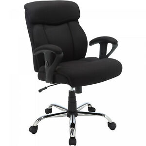 Black Mesh Fabric Manager Office Chair Heavy duty Swivel Chair W Arms Seats