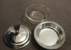 Vintage Round Covered Silver Plated Ornate Serving Bowl With Pyrex 1 5 Qt Dish