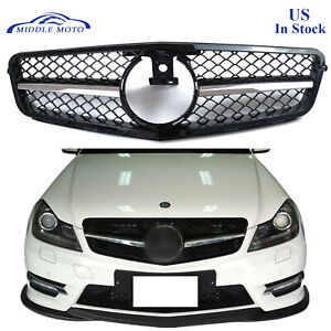 Amg Style Chrome Front Grille Grill For Mercedes Benz W204 C200 C300 C350 08 13