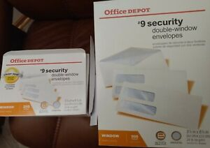 New Unused Box Of 9 Security Double window Envelopes 500 Count office Supplies