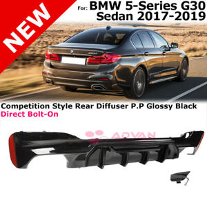 Gloss Black Diffuser For Bmw 5 Series 17 19 G30 Competition Style M Sport Bumper