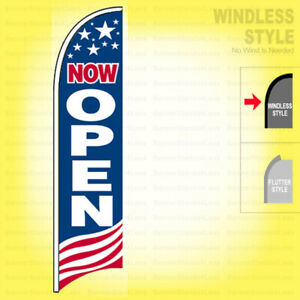 Now Open Windless Swooper Flag 2x11 5 Ft Feather Banner Sign Usa Bb