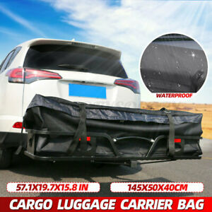Cargo Luggage Carrier Bag Waterproof Tow Trailer Hitch Mount Rooftop Storage