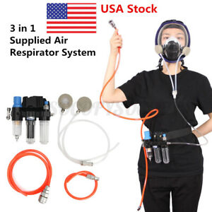 Air Fed System 3 In 1 Function Spraying Respirator Gas Mask Supplied Tool X