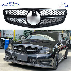 Gloss Black Amg Style Front Grille Grill For Mercedes Benz W204 C250 C350 08 13