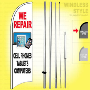 We Repair Cell Phones Tablets Computers Windless Swooper Flag 15 Kit Sign Wb h