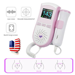 Good Pocket Fetal Doppler 3mhz Probe Baby Heart Monitor Backlight Lcd Gel