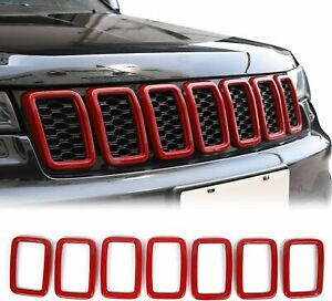 Red Front Grill Inserts Grille Cover Trim Kit For Jeep Grand Cherokee Wk2 2017