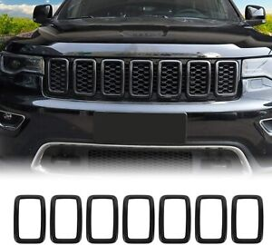 Front Grill Inserts Grille Cover Trim Kit For Jeep Grand Cherokee 2017 Carbon