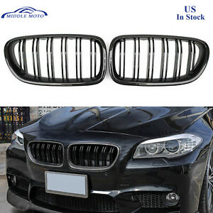 M5 Style Gloss Black Carbon Fiber Look Front Grille Grill For Bmw 5 F10 09 16