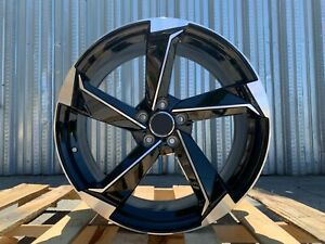 Au10 19x8 5 5x112 35 66 6 Black Machined Face Set Of 4 Wheels For Audi
