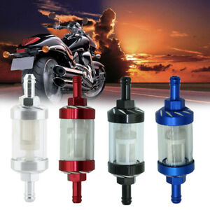1x Universal 8mm Inline Reusable Motorcycle Glass Fuel Filter Gas Petrol Screen