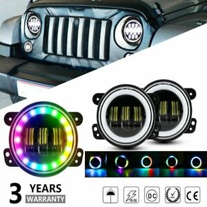 2x4inch Round Led Fog Lights Drl Angel Driving Lamp For Jeep Wrangler Jk Tj Cj