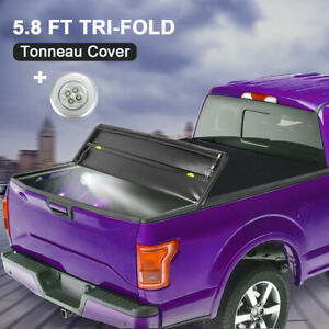 5 8ft Tri fold Truck Bed Tonneau Cover For 14 19 Chevy Silverado Gmc Sierra 1500