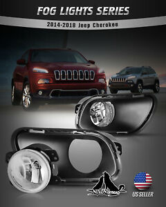 For 14 18 Jeep Cherokee Fog Lights Bumper Car Lamps Clear Lens Wiring Kit Switch