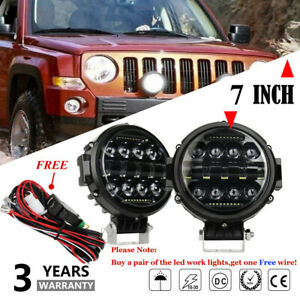 2x7inch Round Led Work Lights Bull Bar Fog Driving Spot Lamps Offroad Free Wire