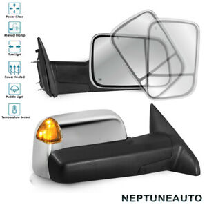 Set Tow Mirrors Power Heated W Temp Sensor For 09 18 Dodge Ram1500 2500 3500