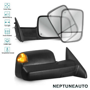 Kit Towing Mirrors For 09 18 Dodge Ram 1500 2500 3500 Power Heated Puddle Temp
