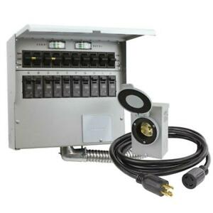 Transfer Switch Kit 10 circuit 30 Amp Manual Easy to install On off Switch