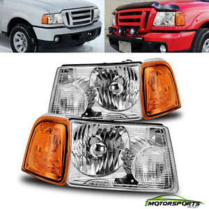 Fit 2001 2010 Ford Ranger Chrome Factory Style Headlights Lh Rh Assembly Pair